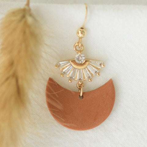 Lunar shaped terractta clay drop earring with gold plated pendant