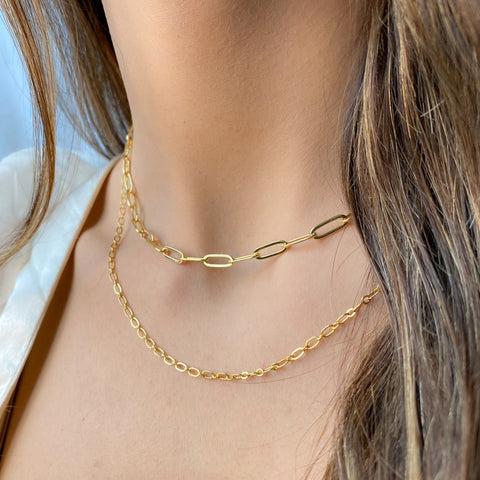 24k gold filled paperclip chain