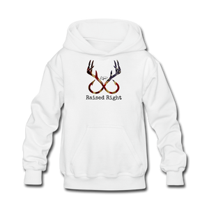 """Raised Right"" Youth Hoodie - white"