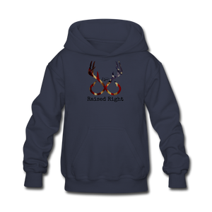 """Raised Right"" Youth Hoodie - navy"