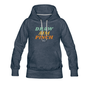 Draw Aim Pinch Women's Premium Hoodie - heather denim