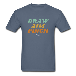Draw Aim Pinch Premium Men's Tee - denim