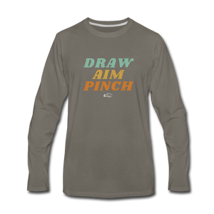 Draw Aim Pinch Men's Premium Long Sleeve T-Shirt - asphalt gray