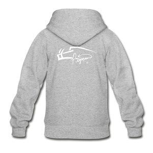 Back Signature Youth Zip Hoodie - heather gray