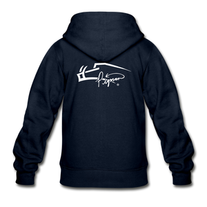 Back Signature Youth Zip Hoodie - navy