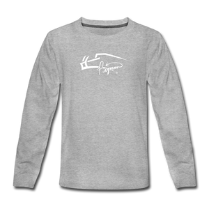 Signature Premium Long Sleeve Youth Tee - heather gray