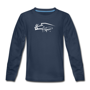 Signature Premium Long Sleeve Youth Tee - navy