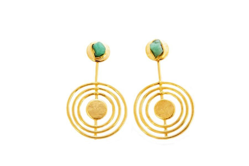 Anna Raw Emerald Bronze & 24k Gold Plated Earrings