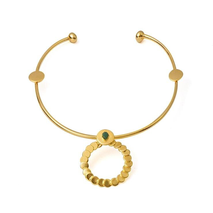 Abigail Raw Emerald Bronze & 24k Gold Plated Necklace