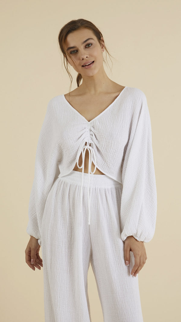 Gaia Drawstring Crop Top - White