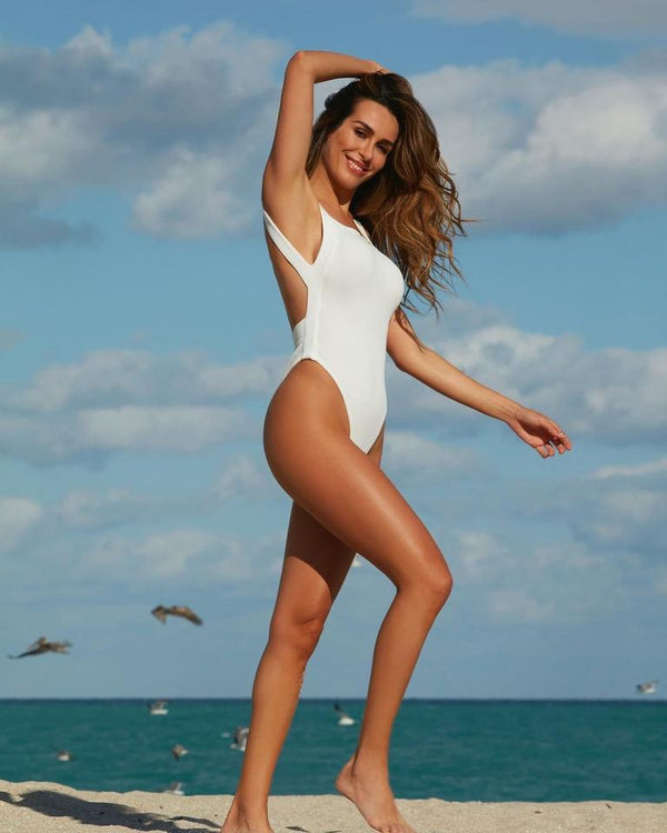 Greece High Leg Belted One Piece - White