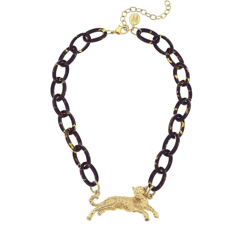 Gold Leopard on Tortoise Necklace