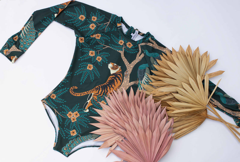 Tiger & Peacock Green - Long Sleeve Swimsuit
