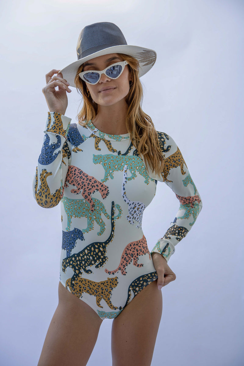 Colorful Leopard Cream - Long Sleeve Swimsuit