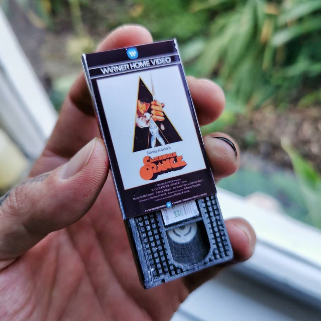 A clockwork orange VHS Keychain