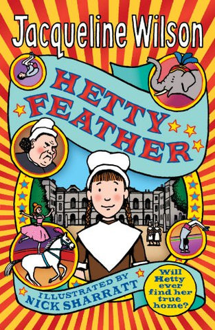 The book cover for Hetty Feather by Jacqueline Wilson. The cover has a picture of a Victorian girl - Hetty. She is wearing a white cap and brown dress. There's some small illustrations of other people and animals - things that occur during the book. The background has red and yellow stripes