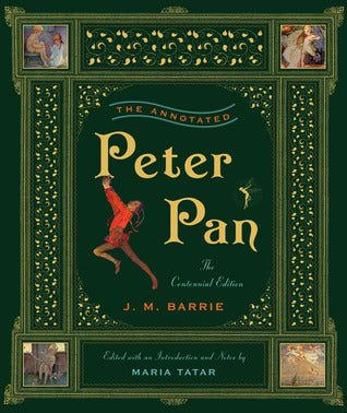 The background of the book cover is mainly a very deep green colour. the words 'peter pan' are in yellow and there's a picture of peter pan, who is wearing red