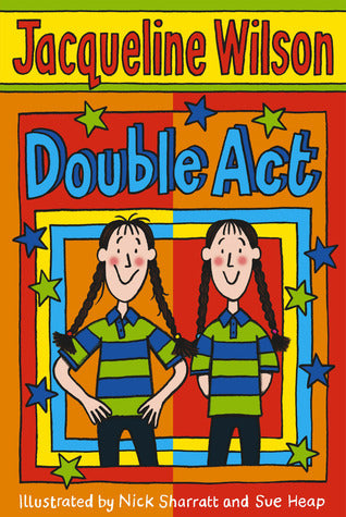 the image background is orange and red with green and blue stars. There's two girls on the cover who are identical twins - they look the same and they're dressed the same
