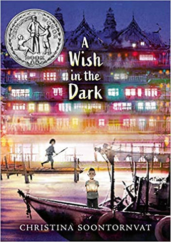 The cover of the book contains a night time scene in South Korea. There are multi coloured lights in the building in the background, and in foreground there's a river and a boat with a man stood in it