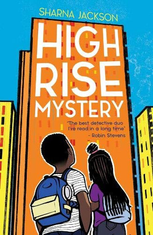 There's an orange high rise apartment in the background. The sky is bright blue. There's two children - one boy, one girl - who are looking at the block of flats, meaning you can't see their faces.. Only their backs and backs of head