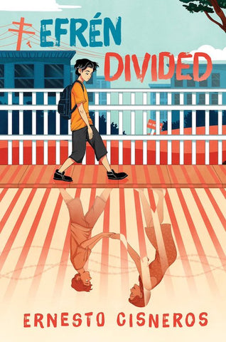 The book cover contains a boy who is walking down the street. He is wearing an orange tshirt and has a black backpack, shorts and shoes. The ground is an orange colour and the sky is a light blue