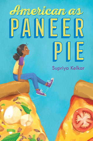 The background of the book is blue. There is a girl sitting on two large slices of pizza