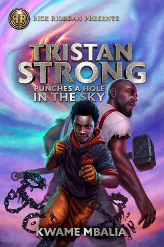 There's a boy and a man on the cover. The boy is facing the front and is stood in a boxing position, like he's about to throw a punch. The man is stood behind him, with his back facing the front, you can see the side of his head. The background is multicoloured - pink, orange, purple, green and blue