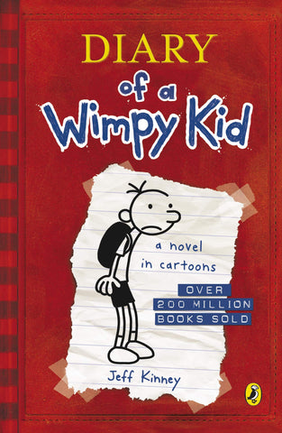 This image is the front cover of Diary of a Wimpy Kid. It looks like the front of a journal, the cover is red. There's a white part in the middle of the cover which contains the drawing of a boy