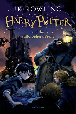 The book cover for Harry Potter and the Philosopher's Stone by JK Rowling. The book cover is purple and has a drawing of Harry Potter and Hagrid on the front