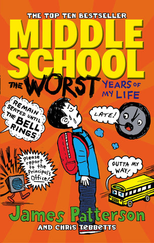 The image background is orange. There's a boy on the front cover who has a blue coat and red backpack. Around him are various items such as a clock, and school bus
