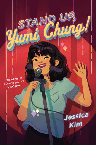 The background of the book cover is a red curtain. There's a girl stood in front of the curtain with a microphone to her mouth. There is a spotlight pointing at her