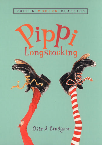 The background is a pale green colour. There are two legs upside down on the cover. One leg has a solid red sock, and the other a red and white striped sock. On each foot is a black boot