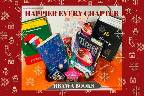 This is a picture of our December subscription box of Happier Every Chapter. The image is superimposed onto a red festive background. The content of the box shows 2 short stories, two books including Tinsel by Sibeal Pounder, and lots of festive themed accessories