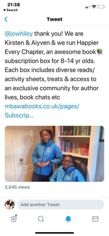 Jo Whiley Retweets Mbawa Books Post About their book subscription box for tweens, Happier Every Chapter