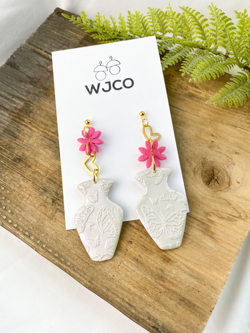 Butterfly Vase Charm Earrings