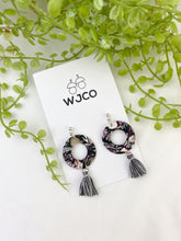 Load image into Gallery viewer, Mosaic Black and White Hoops with Tassels
