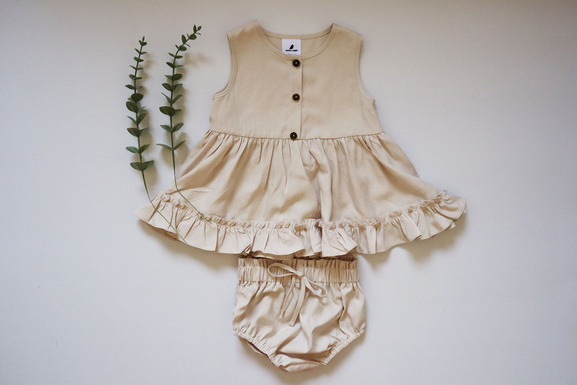 Liz Ruffled Hem Top and Bloomers - Oak