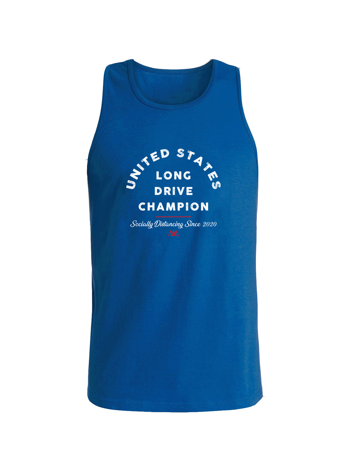 Social Distance Long Drive Tank - Blue (White/Red)