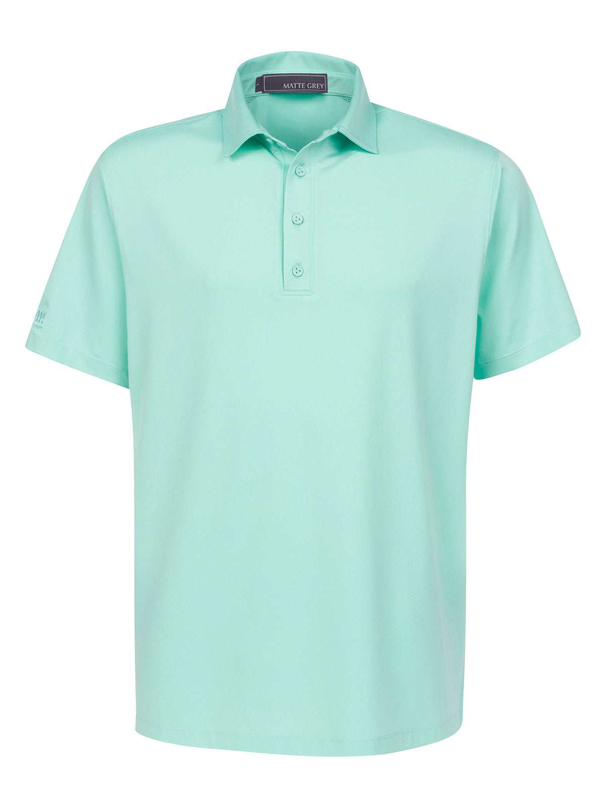 Matte Grey Mens Captain Sea Green Heather Solid Golf Polo Haus Of