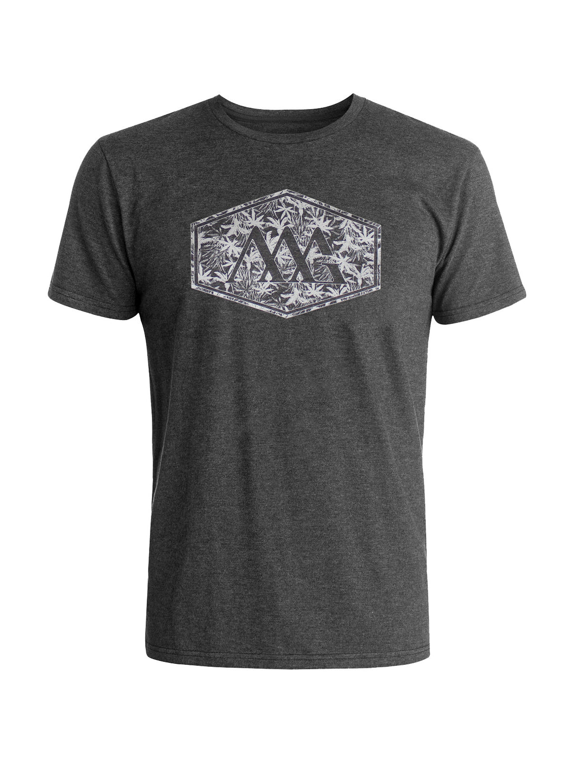 Hex Aloha Tee Shirt - Charcoal Heather (Hawaiian Black / White)