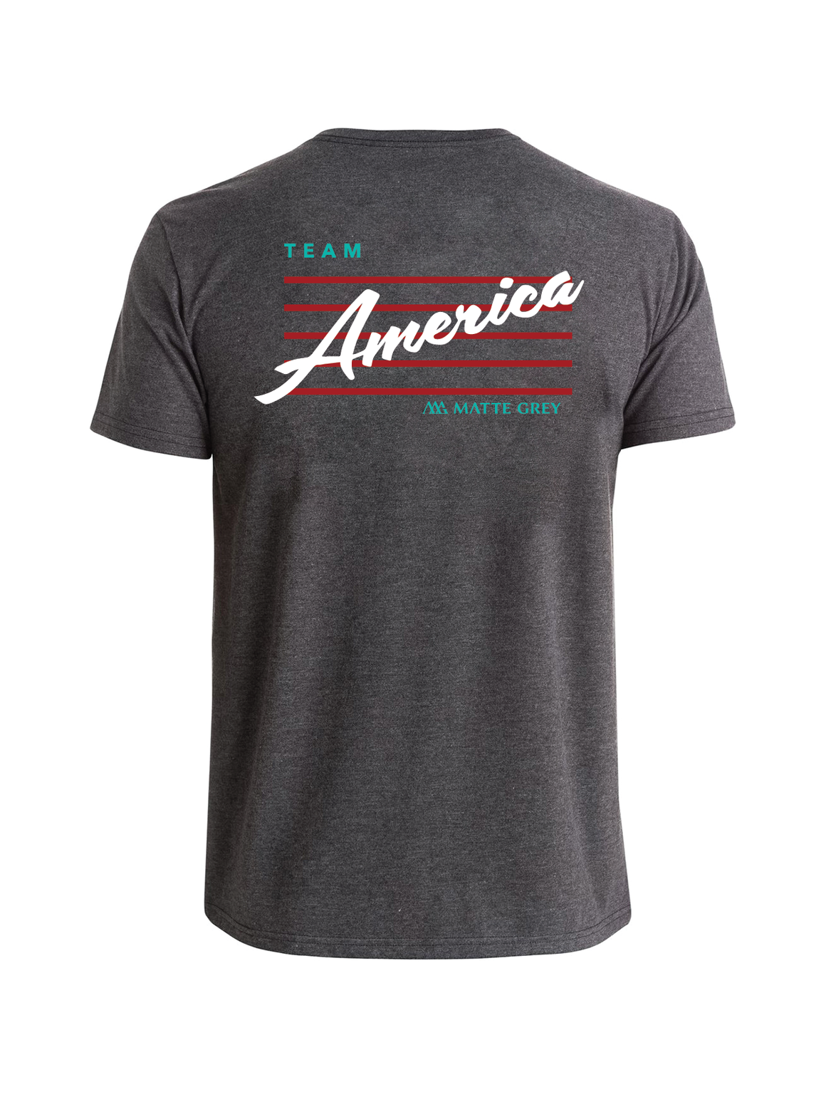 Team American Tee Shirt - Charcoal Heather (White / Red / Kauai)