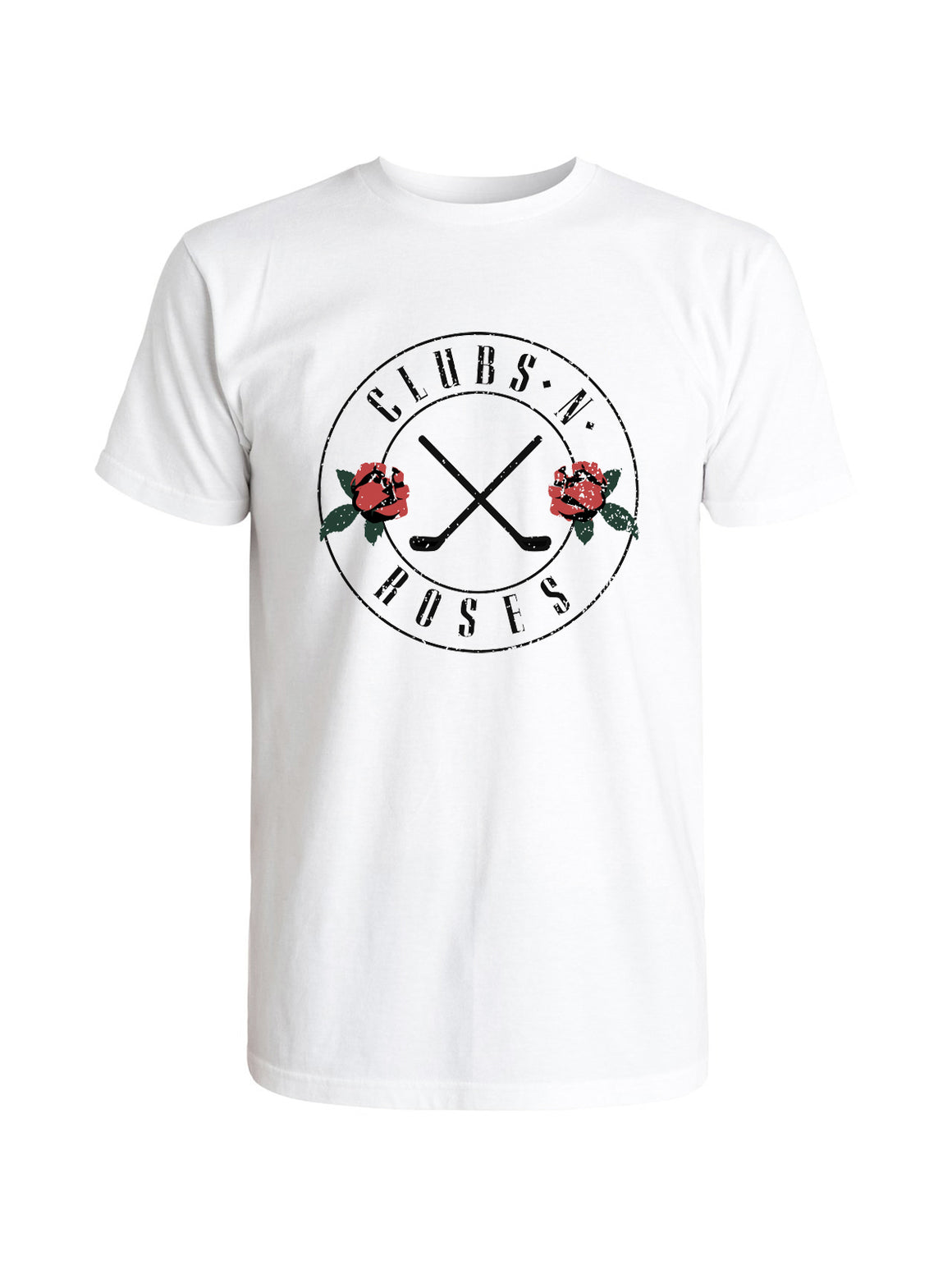 Clubs 'N Roses Distressed Tee Shirt - White
