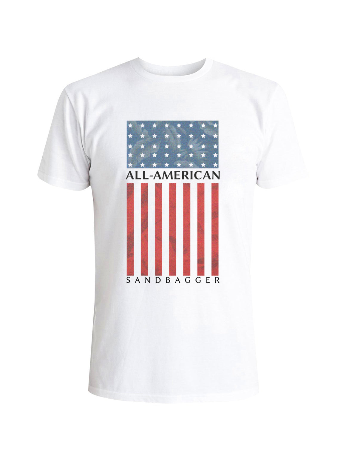 All American Sandbagger Tee Shirt -  White (Red/Blue)