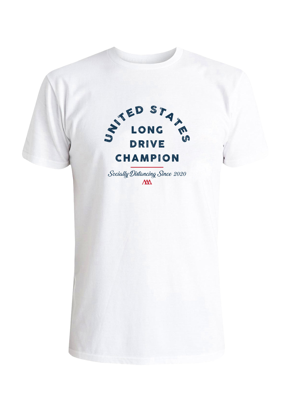Social Distance Long Drive Tee - White (Blue/Red)