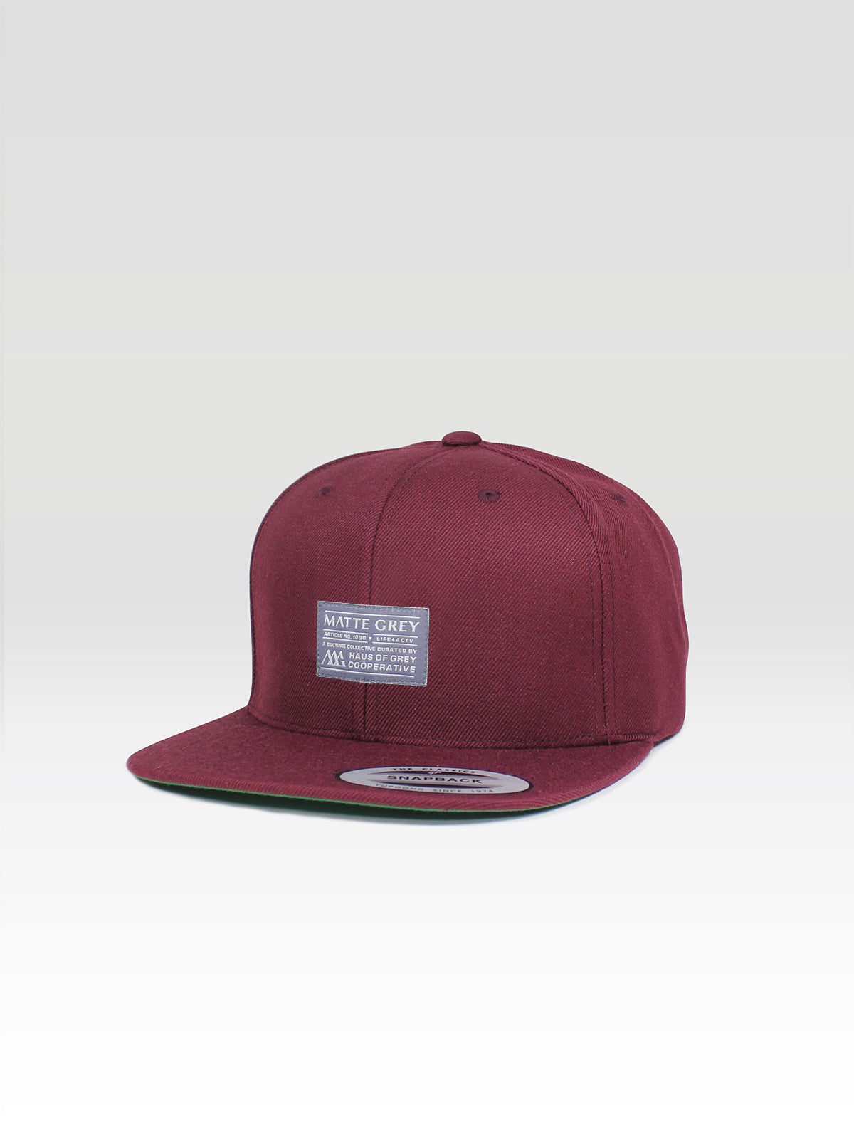 18578304 Matte Grey Men's Badge Snapback Maroon Classic Snapback Hat - Haus ...