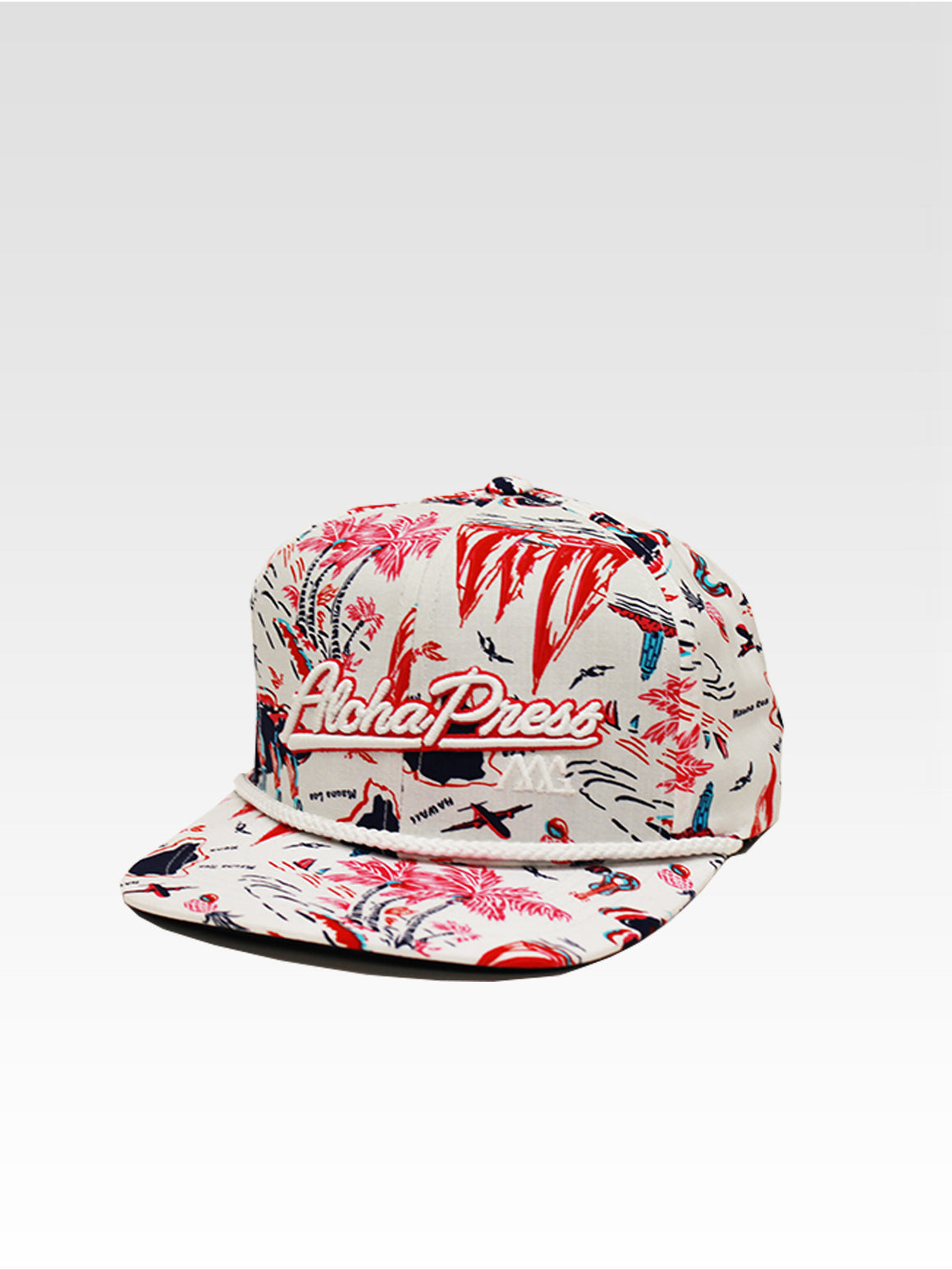 Aloha Press Strapback - White (Maui Pink / Navy)