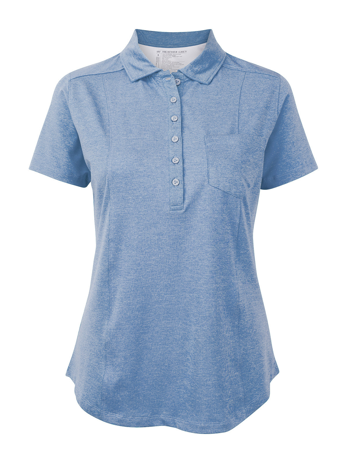 69045233dae1 Heather Grey Women s Tiffany Short Sleeve Polo in Cornflower   White ...
