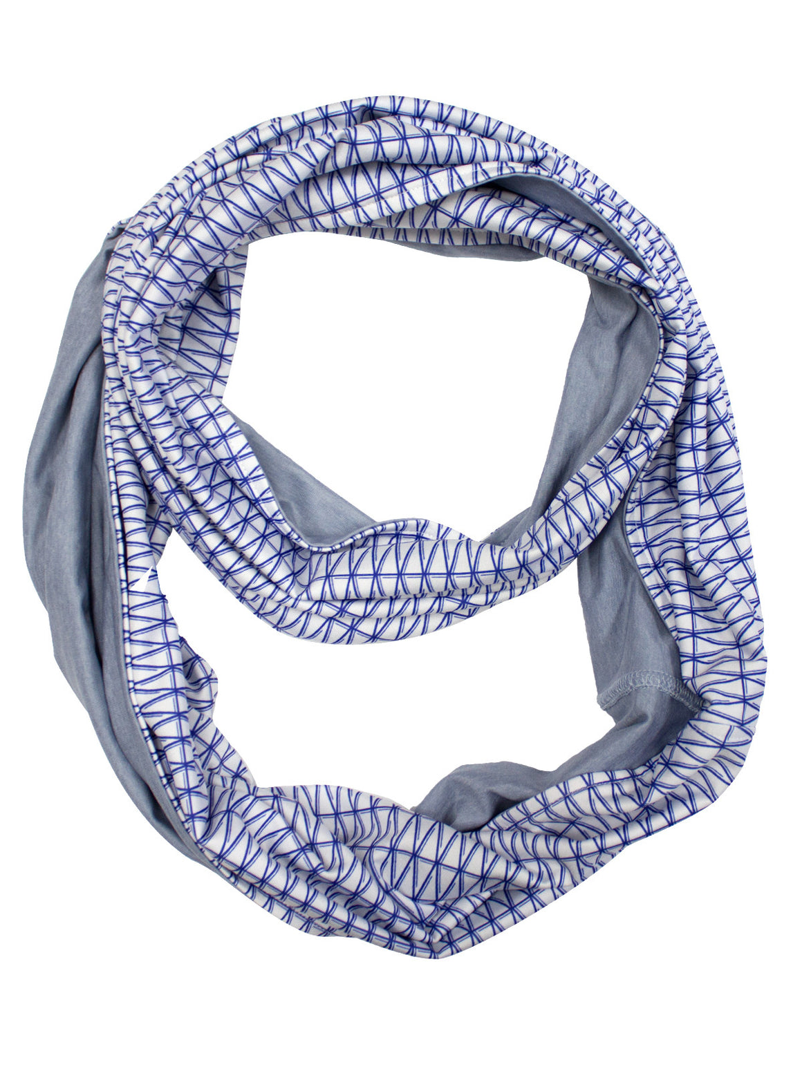 Diamond Infinity Scarf - White (Deep Violet / Charcoal Heather)