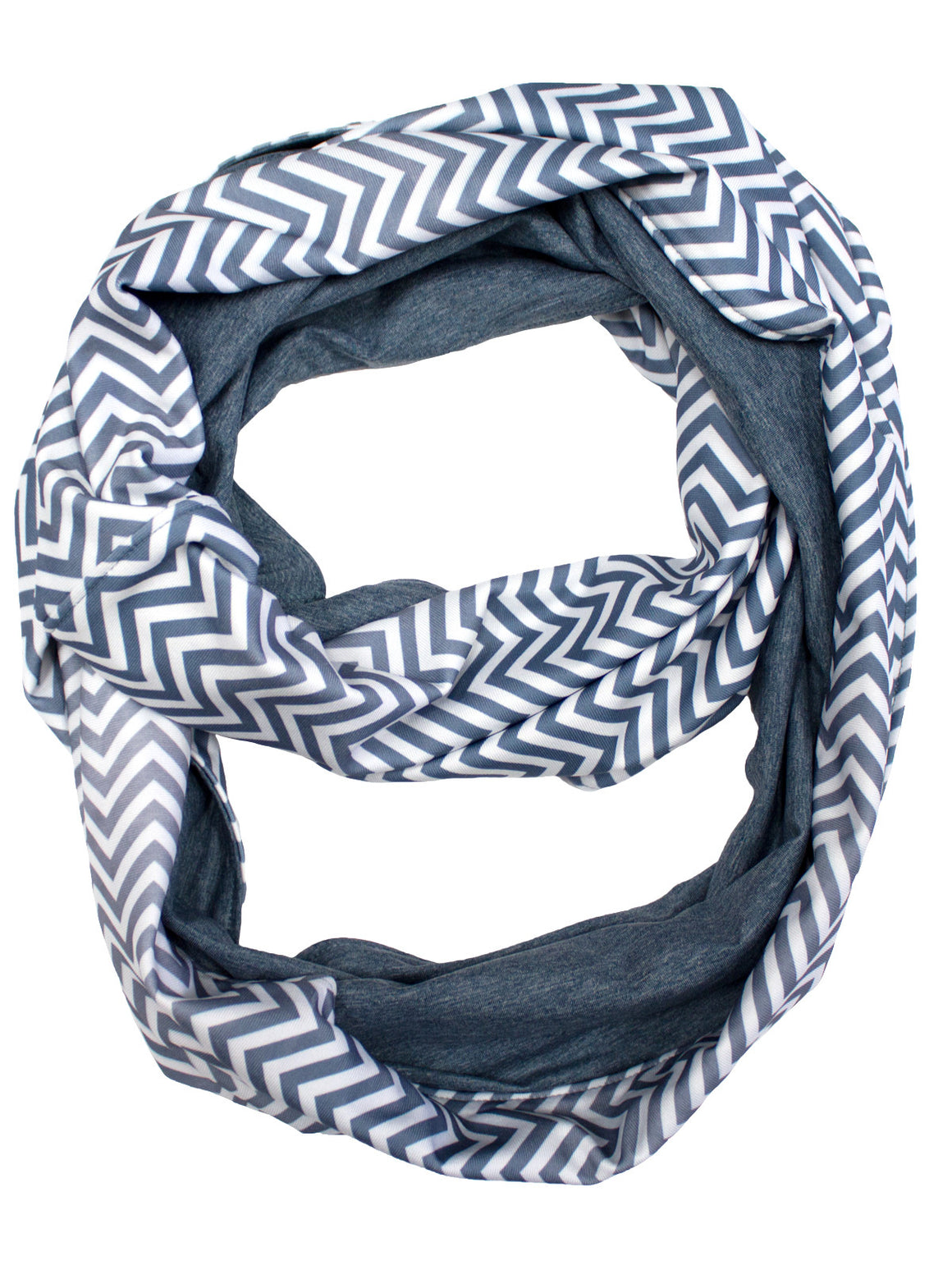 Infinity Scarf - White (Flint Stone / Denim Heather)