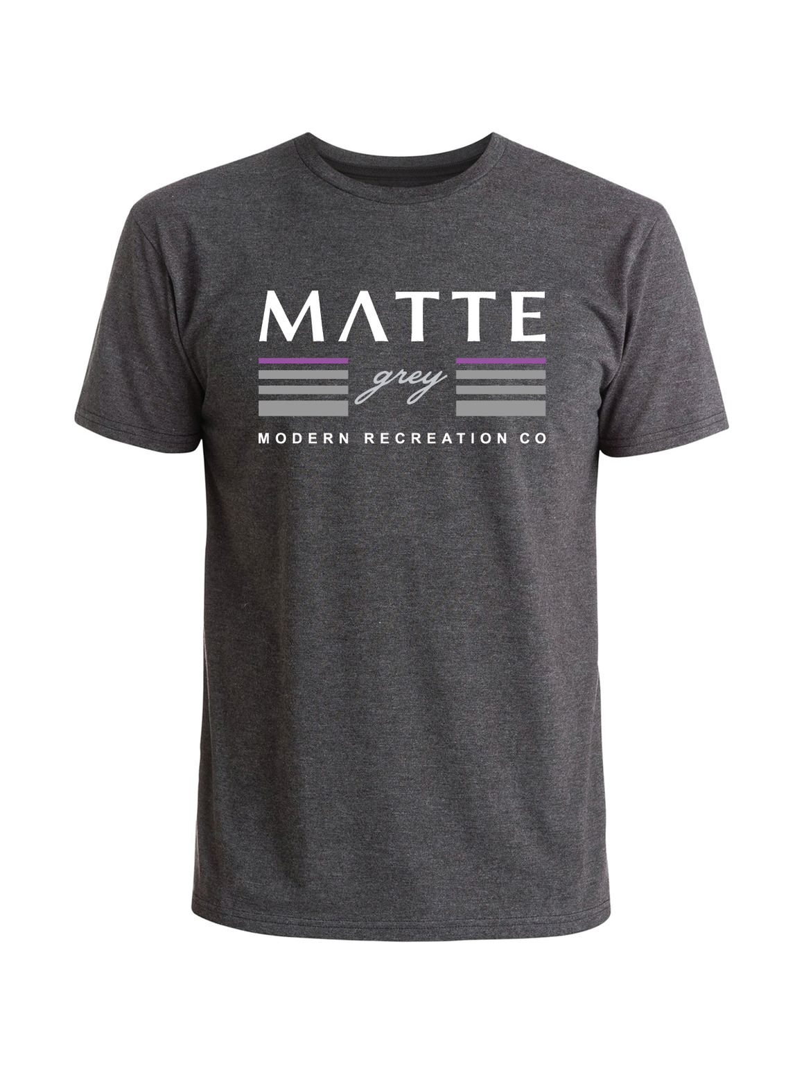 Stacked Tee Shirt - Charcoal Heather (White / Iris / Smoke)